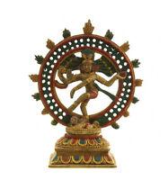 Soprammobile Shiva Nataraj Danza di Resina Verniciato Alla Mano Induismo 5352