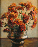 Hand painted art Oil painting Still life of Dahlias nice flowers in copper vase