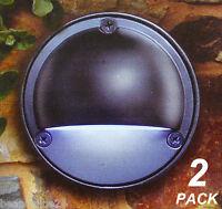 2 Pack 100mm Round LED Wall Lights Black - 12V Safe Low Voltage