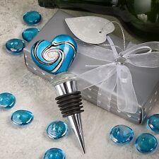 Stunning Murano Heart WEDDING Wine Bottle Stopper Favor Party Gift Drink Glass