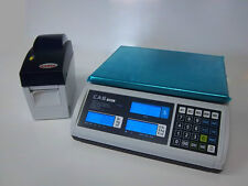 CAS S2000JR 60lb LCD Price Computing Deli Meat Scale w/Godex DT2 Label Printer