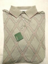 Bobby Jones Stretch Cotton Blend Gray Diamond Pattern Polo Golf Shirt XL