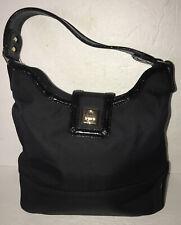 Kate Spade New York Black Microfiber Patent Leather Trim Shoulder Bag Purse Euc