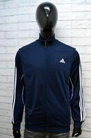 Adidas Felpa Uomo Maglia Cardigan Pullover Taglia M Sweater Maglione Blu Man