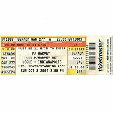 PJ HARVEY Full Concert Ticket Stub INDIANAPOLIS IN 10/3/04 VOGUE UH HUH HER TOUR