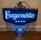 Vintage BURGERMEISTER Rotating Lighted Beer Sign - Working