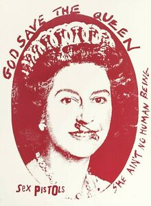 "SEX PISTOLS repro Jamie Reid God Save the Queen poster 30x40"" huge poster rare"