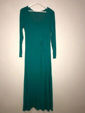 Soft Surroundings Teal Long Day Dream Jersey Knit Mesh Lined Maxi Dress XS 2-4US