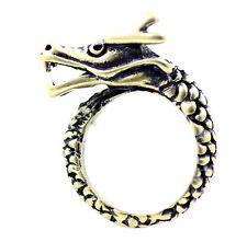 Vintage punk motero estilo bronce anillo de dragón