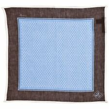 Corneliani Men's 100% Linen Pocket Square Blue & Brown Handkerchief Gift for Him