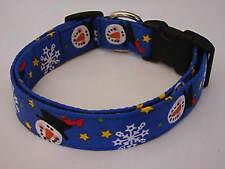 Charming Blue Snowmen & Snowflakes Dog Collar Medium
