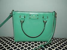 KATE SPADE Small Green Quinn Wellesley Leather Satchel Crossbody EUC!!