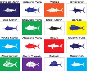 "Santos Tournament Fishing Catch & Release Flags - Marlin, Tuna, Wahoo, 12"" X 18"""