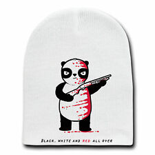 Funny Panda Bear with Shotgun Riddle Cartoon Beanie Skull Cap Hat Winter New