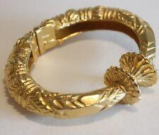 Vintage Kenneth Lane Etruscan Revival Gold Tone Cuff Clamper Bracelet
