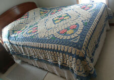 Vintage Chenille Blue Cotton Beadspread Queen/Full Bed Spread