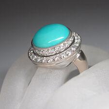 Ring mit ca. 4,01ct Brillant TW-vsi und ca. 10,00ct Türkis in 750/18K Handarbeit
