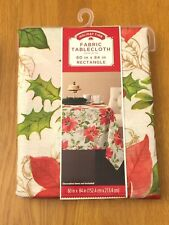 """Holiday Time 100% Polyester Rectangle Poinsettia Tablecloth 60"""" x 84"""" Christmas"""