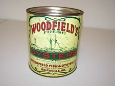 WOODFIELD'S OYSTERS 1 GALLON CAN/TIN Galesville MD Vintage Collectible