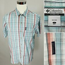 COLUMBIA Men's Large L Blue & Red Plaid S/S Button Front Casual Camp Shirt EUC