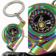 Neo Chrome Spinning Turbo Charger Turbine Key Chain Key Ring Keychain For HONDA
