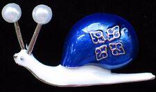 "FUN BLUE WHITE PEARL CRAWLING BUG INSECT GRUB SLUG SNAIL PIN BROOCH JEWELRY 1.5"""