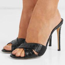 Women's Peep Toe High Heels Mules Sexy Snakskin Stilettos Sandals Slippers Shoes