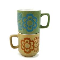 Vtg 1970s Green Yellow Speckled Flower Ceramic 2 Stacking Coffee Mugs Cups