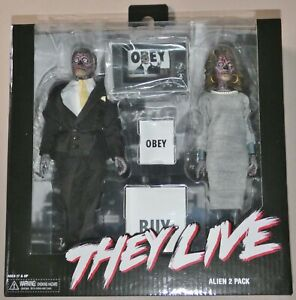 """GENUINE  NECA  THEY LIVE (1988) Clothed Alien 2 Pack 8"""" action figures  NEW"""