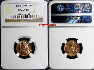 Libya Idris I Bronze 1952 1 Millieme NGC MS65 RB Nice Red Toning  KM# 1