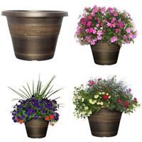 "Large Bronze Plastic Planter, Rattan Outdoor Flower Pot Garden Porch Yard 17.2"""