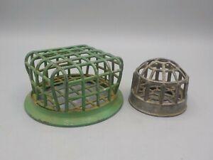 "2 Vintage Metal Cage Style Flower Arrangement Frogs Green Vogue 4.5"" & 2.5"""