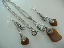 Vintage Art Deco Style Cornish Seaglass & Mermaid Pendant & Silver Long Earrings
