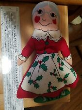 """Mrs Claus VINTAGE retro STUFFED FABRIC CLOTH CHRISTMAS DOLL TOY 11 1/2"""" used"""