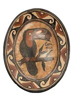 """Earth Toned Toucan SIgned Pottery Platter Hand Painted Costa Rica 14.5"""" Length"""