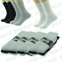 BK GY W 3 Pairs Ankle/Quarter Crew Mens Socks Cotton Long Size 9-11 10-13 Sports