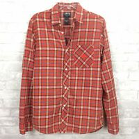 Stussy Shirt Mens Small Red Plaid Embroidered Logo Long Sleeve Button Down Skate