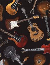 Guitar Fabric electric guitars acoustic music   fat 1/4s. 100% cotton.