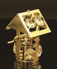 SWAROVSKI CRYSTAL ELEMENT STUDDED WISHING WELL FIGURINE/ORNAMENT 24K GOLD PLATED