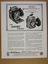 1958 Linhof Super Technika 23 & Press 23 Cameras Kling Photo vintage print Ad