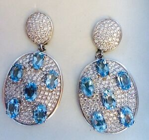 9.10ct Natural Swiss Blue Topaz Drop DanglevEarrings, White Gold Over SS