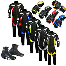 Motorbike Motorcycle Riding Suit Textile Jacket Trousers Waterproof Boots Gloves