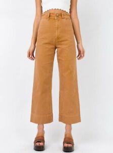 THRILLS Byron Bay Cord Pants Belle Tobbaco Corduroy High Waisted Wide Leg Siz 28
