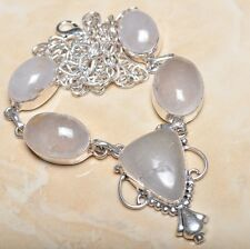 "Handmade Natural Rutilated Quartz Jasper 925 Sterling Silver Necklace 20"" N00401"
