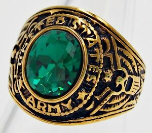 MEN RING EMERALD STAINLESS STEEL YELLOW GOLD SOLDIER US MILITARY EAGLE SIZE 10