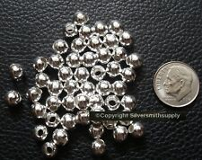 50 Silver Plated Large Hole 6mm Round Jewelry Metal Filler Spacer Beads Fpb098a