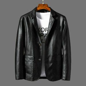 Men Faux Leather Blazer Suit Jacket Coat Motorcycle Outwear Casual Fall Winter