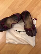 Authentic Salvatore Ferragamo My Joy Flat Shoes Bordeaux Kangaroo Size 7