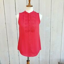 Maeve Anthropologie Red Broderie Anglaise Blouse Button Up Shirt Size 2