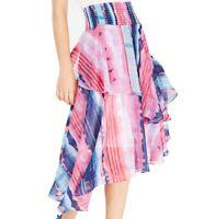 INC Women's Skirt Purple Size Large L Asymmetrical Tiered Smocked Waist $79 #858